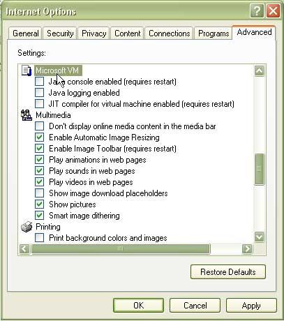 java machine installed